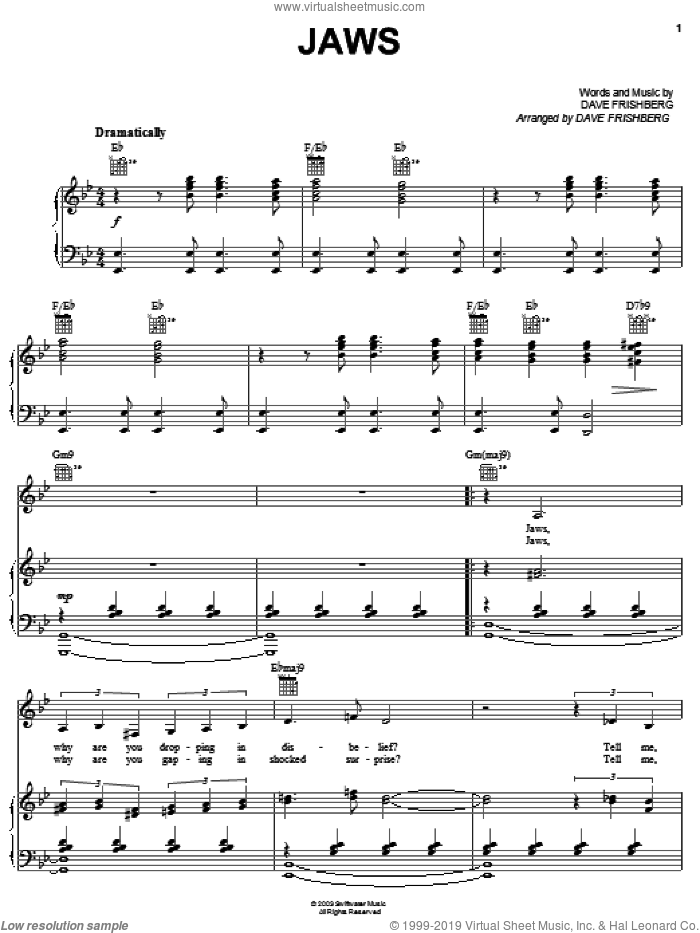 Jaws sheet music for voice, piano or guitar by Dave Frishberg, intermediate skill level