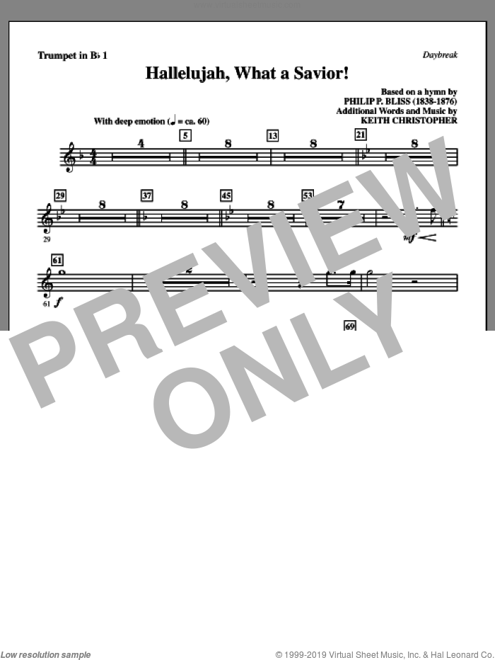 Hallelujah, What A Savior! sheet music for orchestra/band (Bb trumpet 1) by Philip P. Bliss