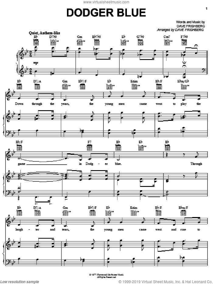 Dodger Blue sheet music for voice, piano or guitar by Dave Frishberg, intermediate skill level
