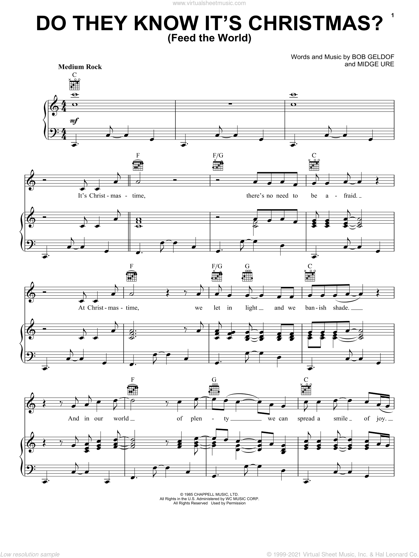 Do They Know It's Christmas? sheet music for voice, piano or guitar by Band Aid, Bob Geldof, B. Geldof and Midge Ure, intermediate skill level