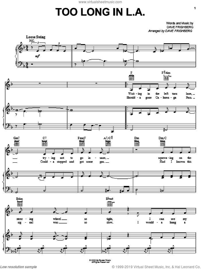 Too Long In L.A. sheet music for voice, piano or guitar by Dave Frishberg, intermediate skill level