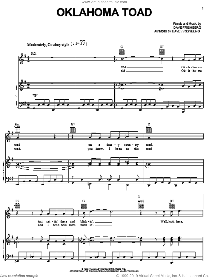 Oklahoma Toad sheet music for voice, piano or guitar by Dave Frishberg. Score Image Preview.
