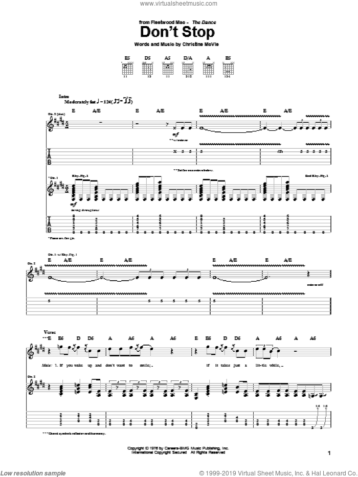 Don't Stop sheet music for guitar (tablature) by Fleetwood Mac and Christine McVie, intermediate skill level