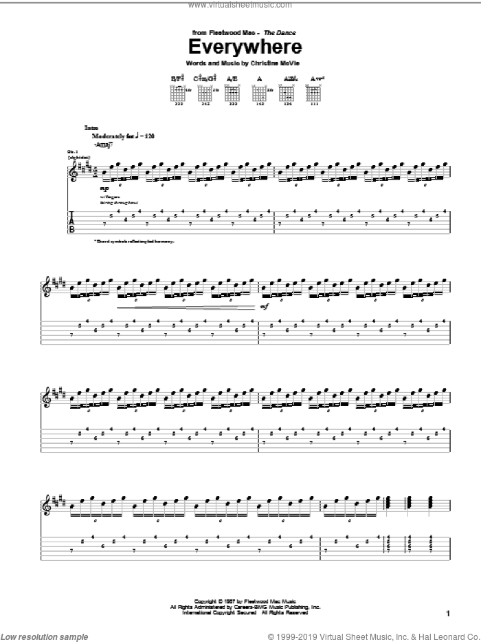 Everywhere sheet music for guitar (tablature) by Fleetwood Mac and Christine McVie, intermediate skill level