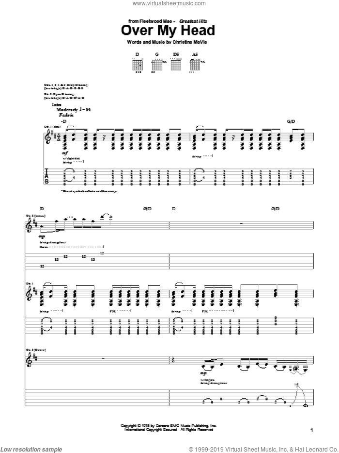 Over My Head sheet music for guitar (tablature) by Fleetwood Mac. Score Image Preview.