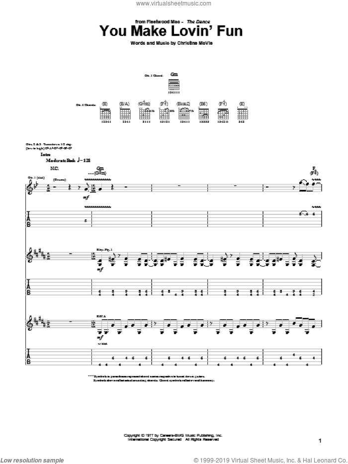 You Make Lovin' Fun sheet music for guitar (tablature) by Fleetwood Mac and Christine McVie, intermediate