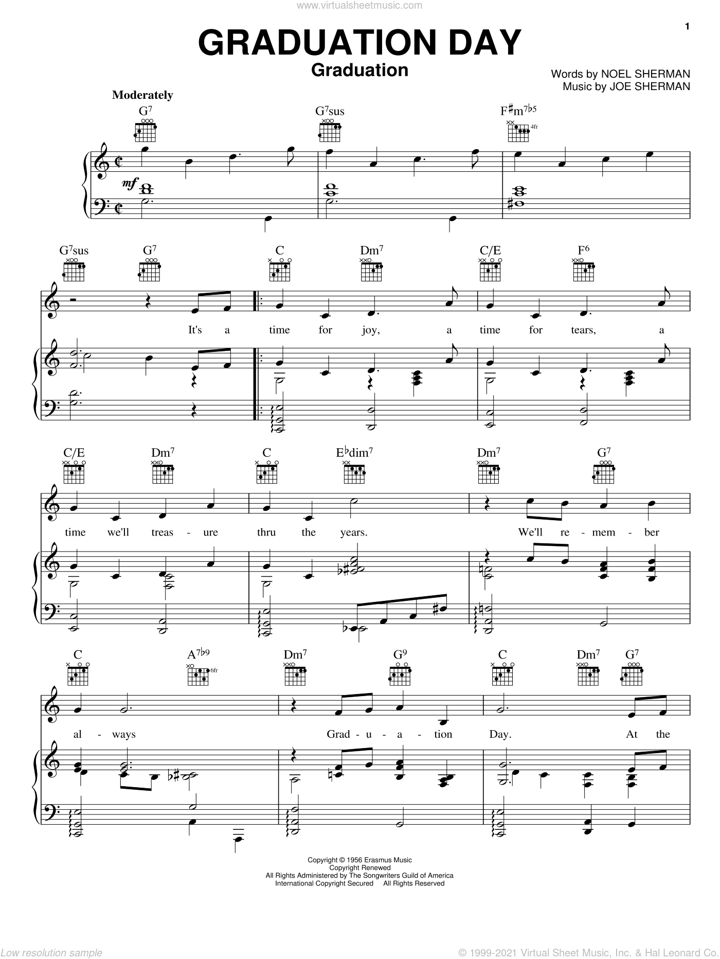 Graduation Day sheet music for voice, piano or guitar by Noel Sherman, The Beach Boys and Joe Sherman. Score Image Preview.