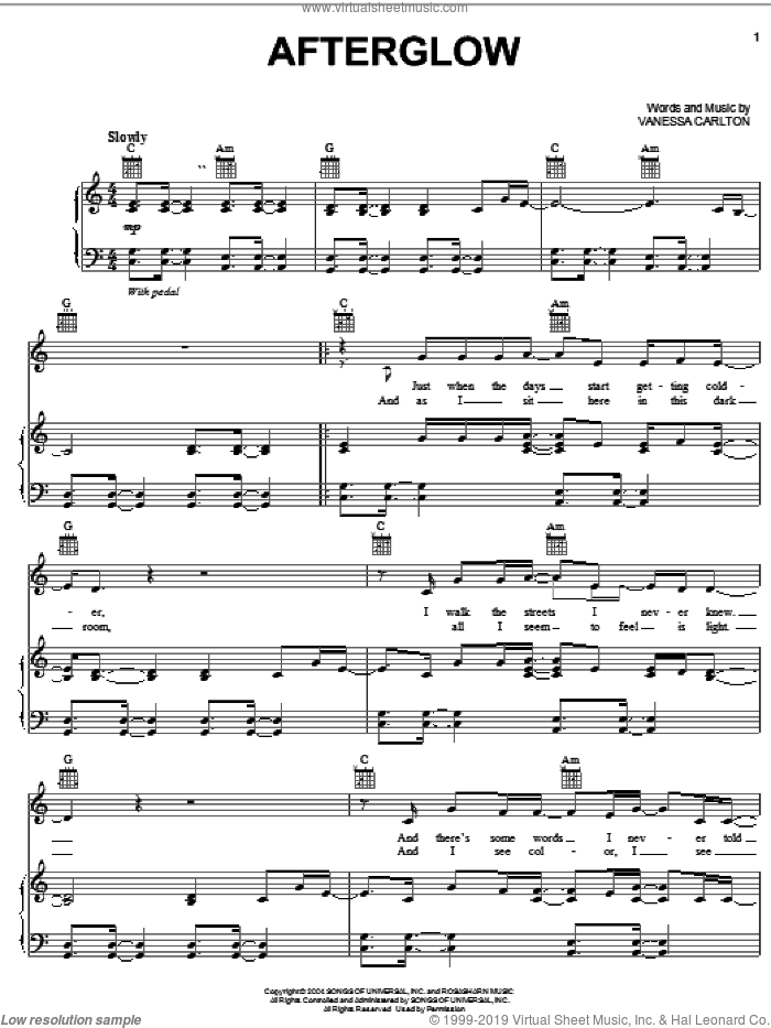 Afterglow sheet music for voice, piano or guitar by Vanessa Carlton, intermediate. Score Image Preview.