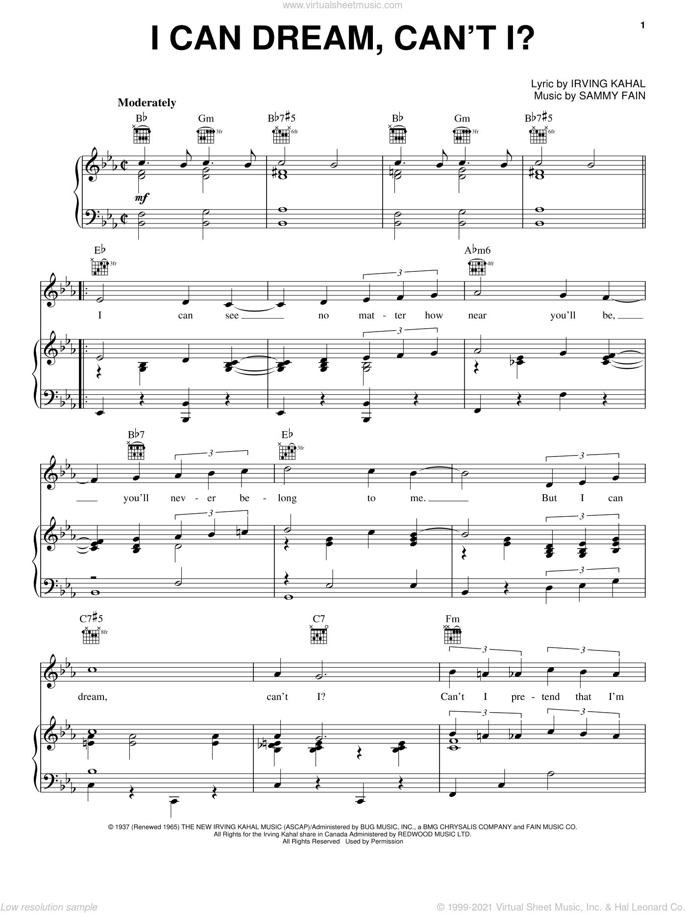 I Can Dream, Can't I? sheet music for voice, piano or guitar by Andrews Sisters, Bing Crosby, Irving Kahal and Sammy Fain, intermediate skill level