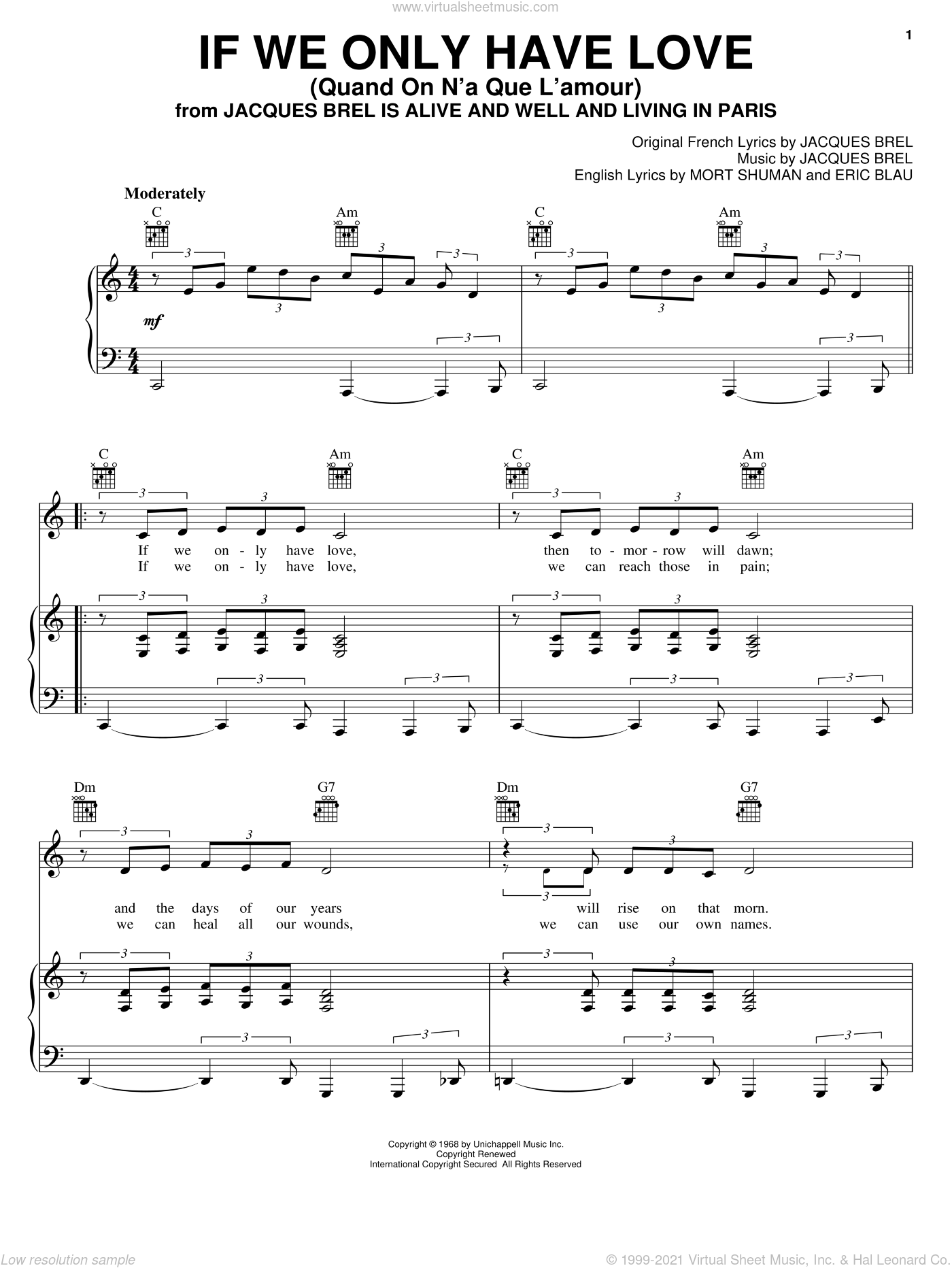 If We Only Have Love (Quand On N'a Que L'amour) sheet music for voice, piano or guitar by Mort Shuman, Barry Manilow, Eric Blau and Jacques Brel. Score Image Preview.