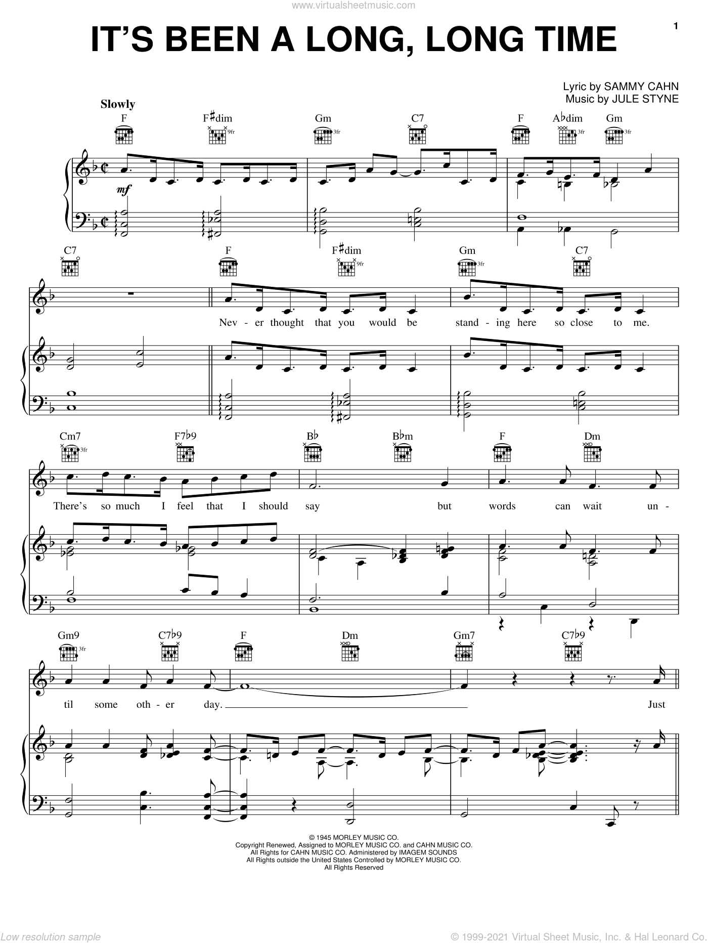 It's Been A Long, Long Time sheet music for voice, piano or guitar by Harry James, Bing Crosby, Frank Sinatra, June Christy, Perry Como, Jule Styne and Sammy Cahn, intermediate skill level