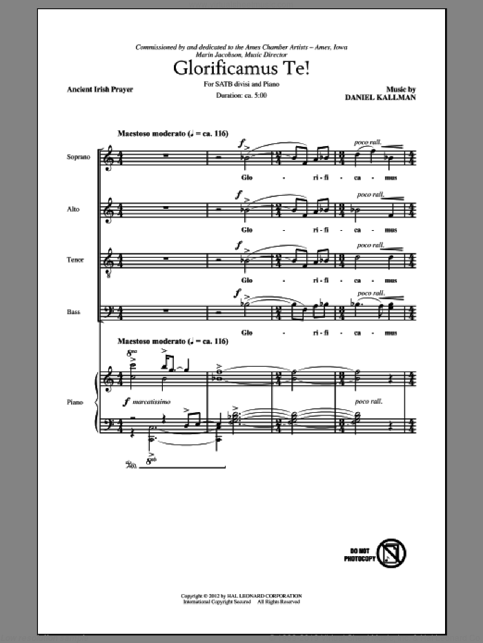 Glorificamus Te! sheet music for choir and piano (SATB) by Ancient Irish Prayer and Daniel Kallman. Score Image Preview.