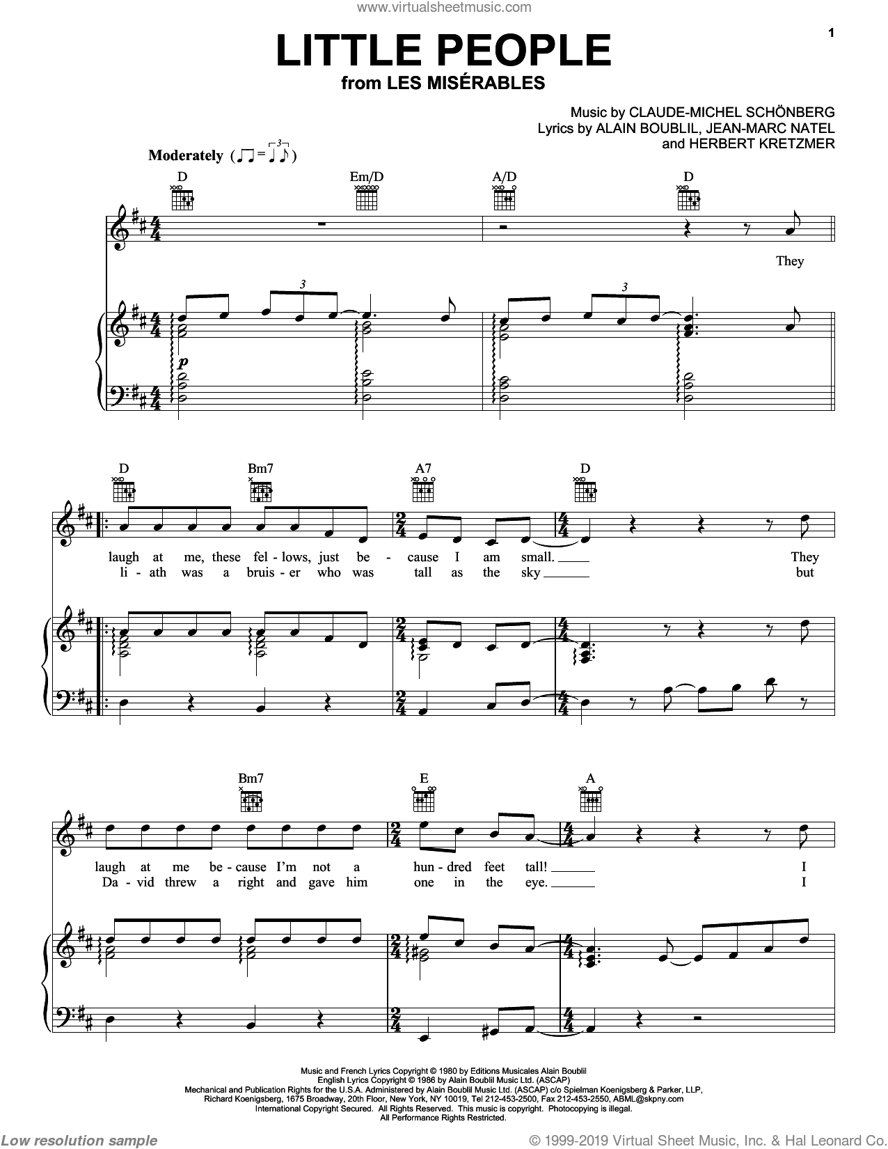 Little People sheet music for voice, piano or guitar by Alain Boublil, Les Miserables (Musical), Claude-Michel Schonberg and Herbert Kretzmer, intermediate voice, piano or guitar. Score Image Preview.
