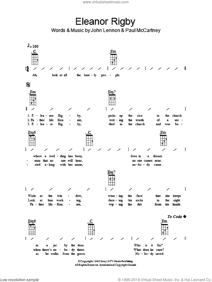 Eleanor Rigby sheet music for ukulele (chords) by The Beatles, John Lennon and Paul McCartney, intermediate skill level
