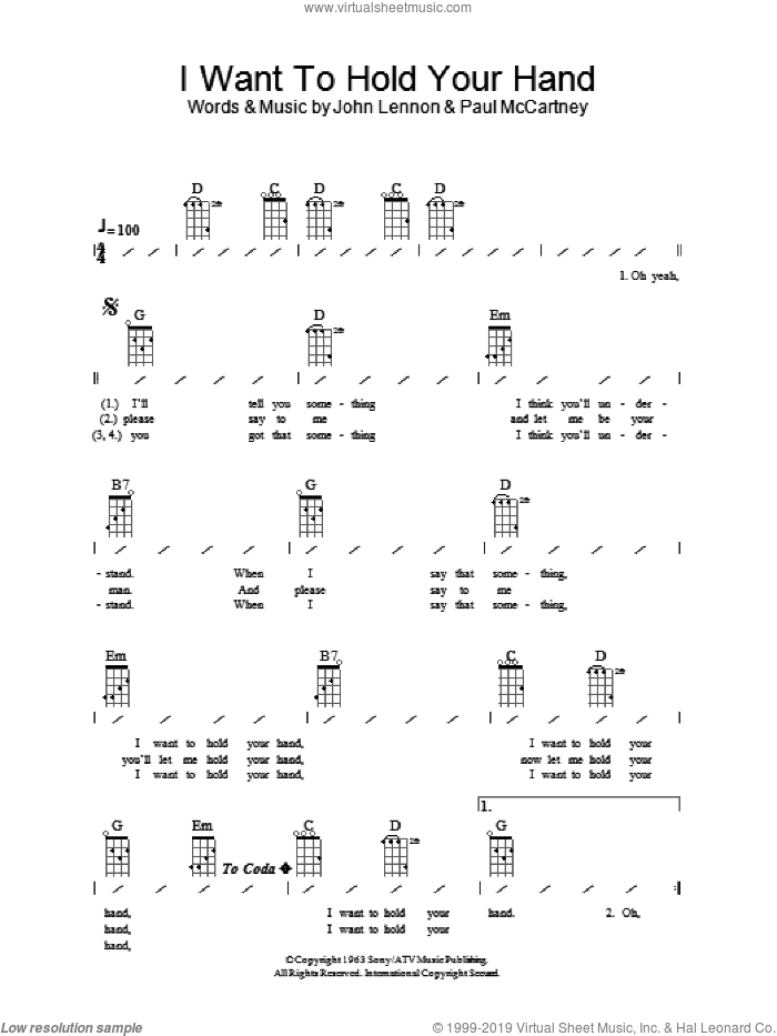 I Want To Hold Your Hand sheet music for ukulele (chords) by The Beatles, John Lennon and Paul McCartney, intermediate skill level