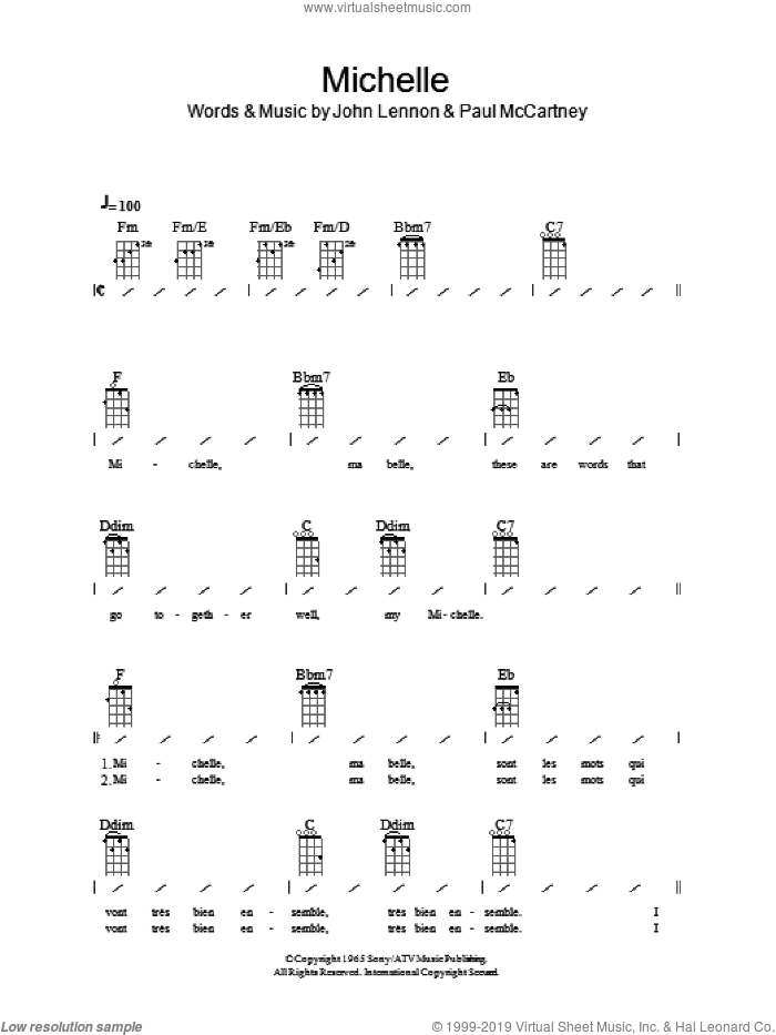 Michelle sheet music for ukulele (chords) by John Lennon, The Beatles and Paul McCartney. Score Image Preview.