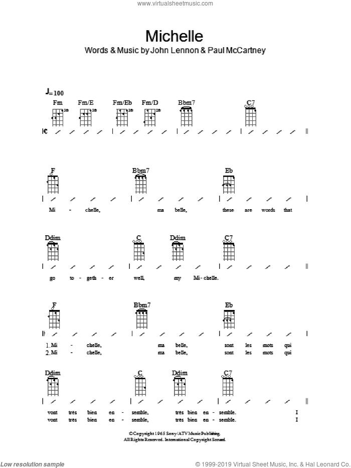 Michelle sheet music for ukulele (chords) by The Beatles, John Lennon and Paul McCartney, intermediate skill level