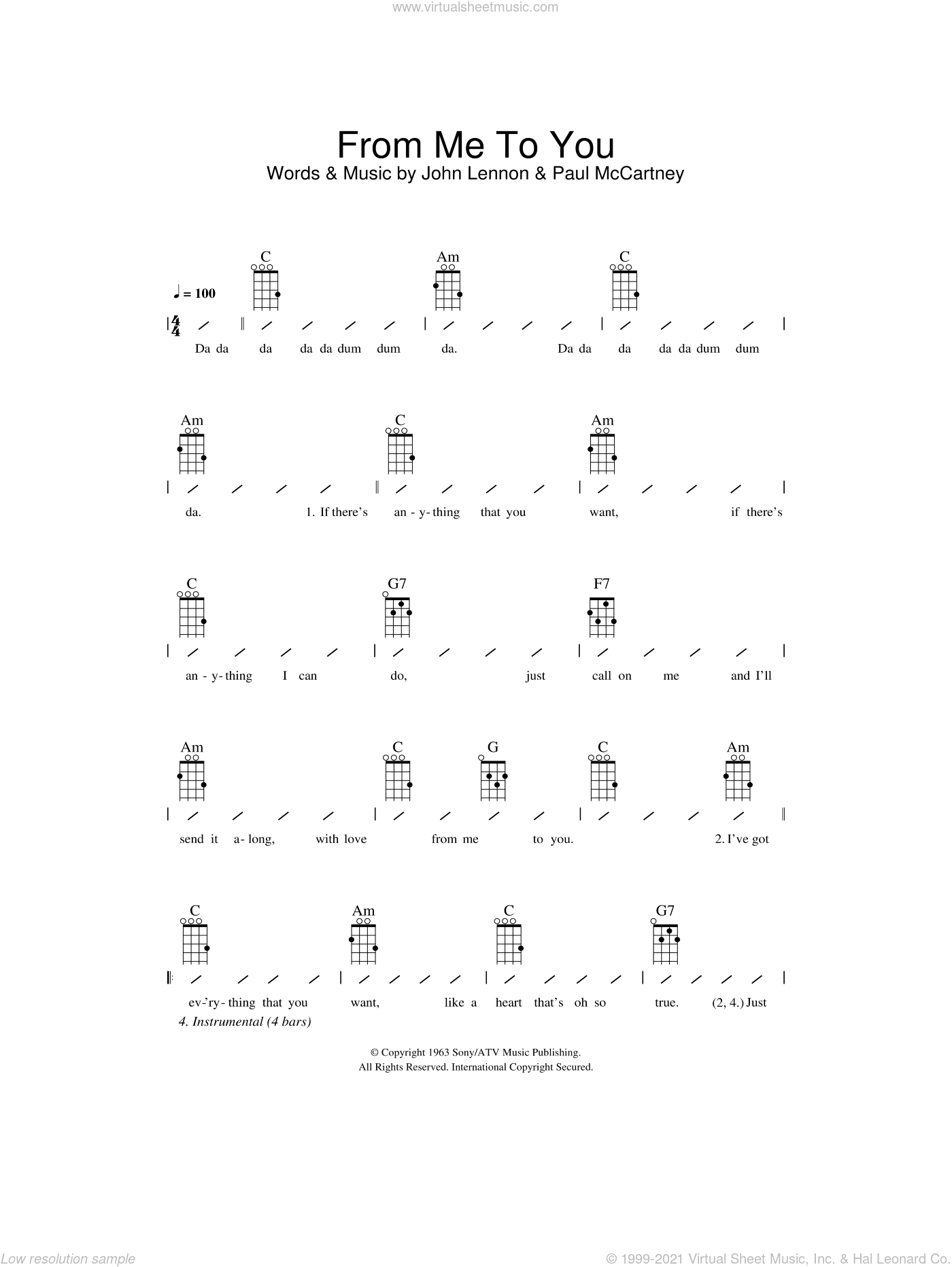 From Me To You sheet music for ukulele (chords) by The Beatles, John Lennon and Paul McCartney, intermediate skill level