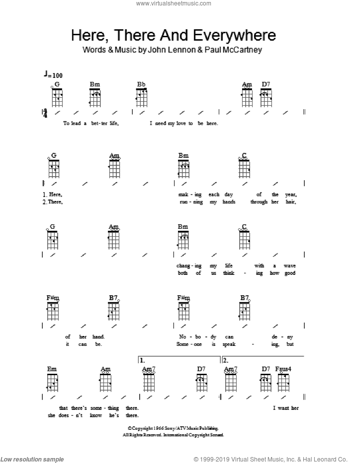 Here, There And Everywhere sheet music for ukulele (chords) by The Beatles, John Lennon and Paul McCartney. Score Image Preview.