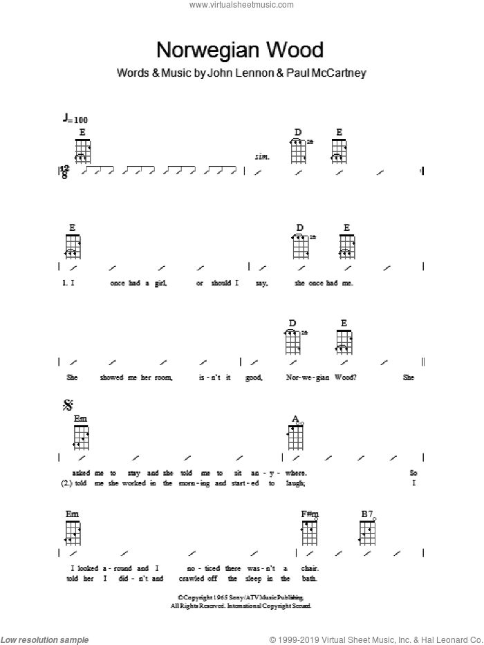 Norwegian Wood (This Bird Has Flown) sheet music for ukulele (chords) by The Beatles, John Lennon and Paul McCartney, intermediate