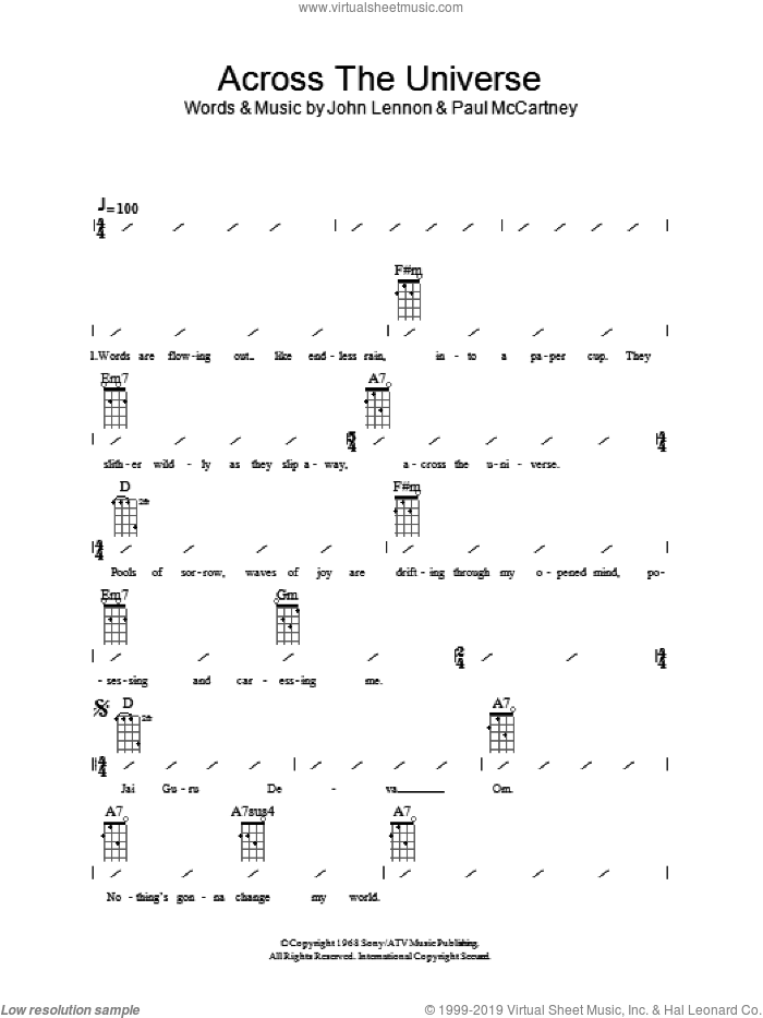 Across The Universe sheet music for ukulele (chords) by Paul McCartney, The Beatles and John Lennon. Score Image Preview.