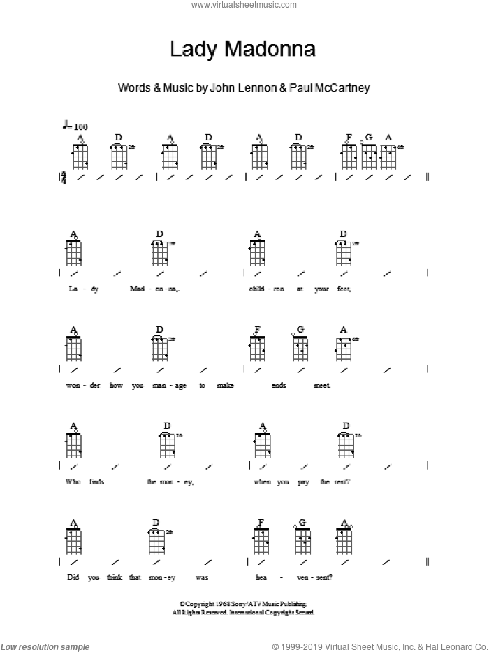 Lady Madonna sheet music for ukulele (chords) by The Beatles, John Lennon and Paul McCartney, intermediate skill level