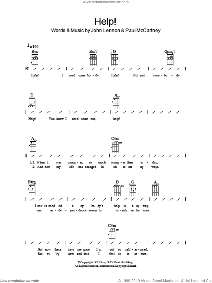 Help! sheet music for ukulele (chords) by Paul McCartney, The Beatles and John Lennon. Score Image Preview.