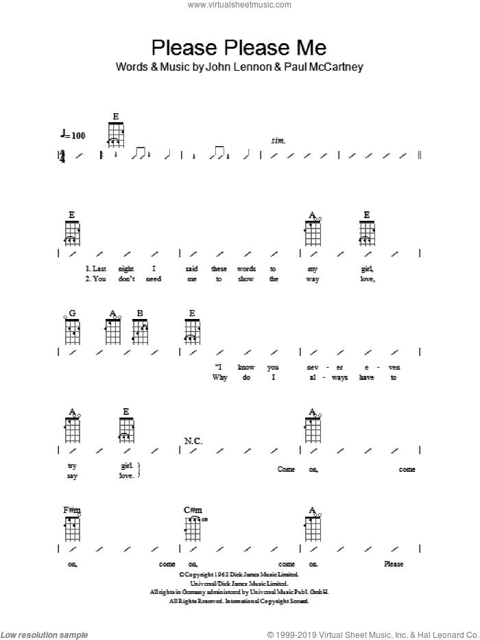 Please Please Me sheet music for ukulele (chords) by The Beatles, John Lennon and Paul McCartney, intermediate skill level