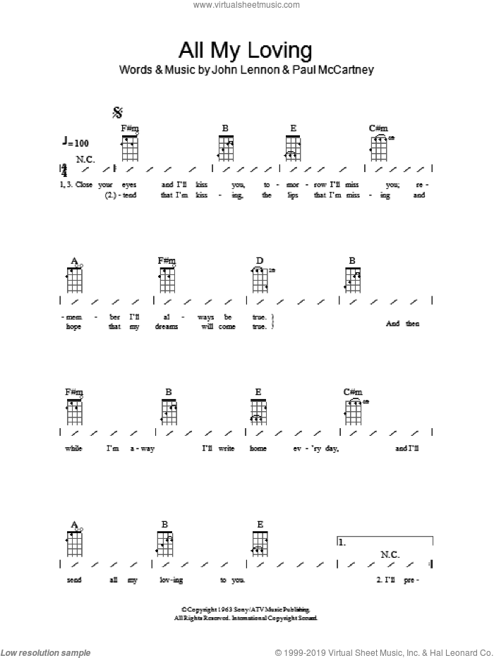 All My Loving sheet music for ukulele (chords) by The Beatles, John Lennon and Paul McCartney, intermediate. Score Image Preview.