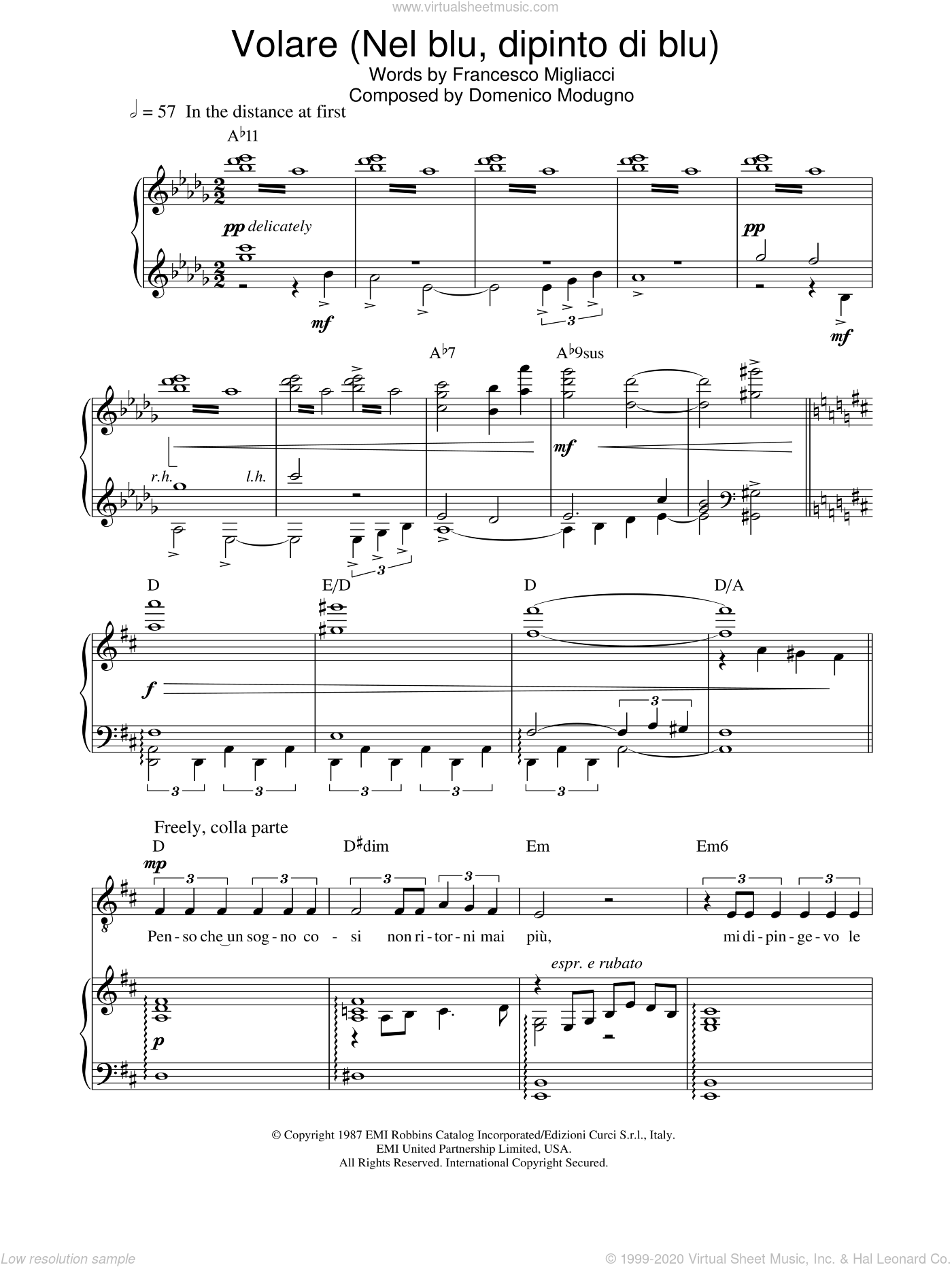 Volare (Nel Blu, Dipinto Di Blu) sheet music for voice, piano or guitar by Franco Migliacci