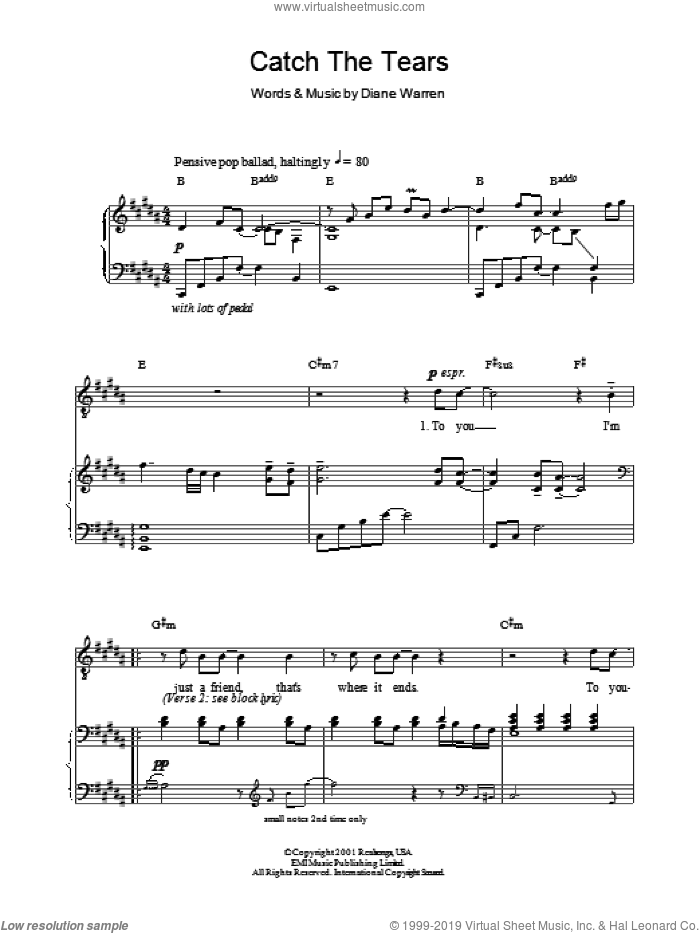 Catch The Tears sheet music for voice, piano or guitar by Diane Warren and Russell Watson