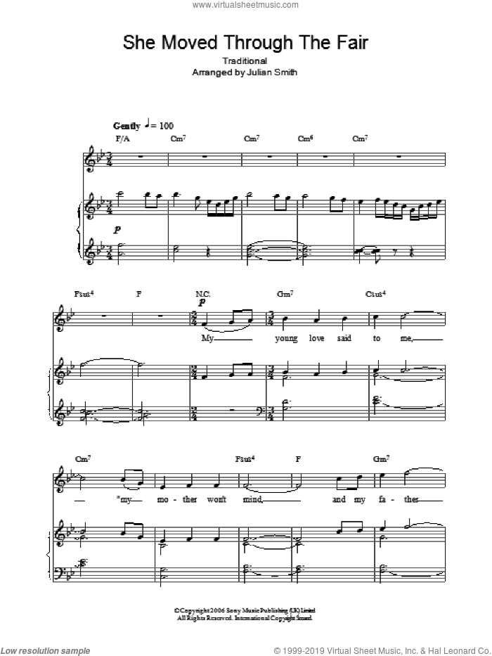 She Moved Through The Fair sheet music for voice, piano or guitar by Charlotte Church and Miscellaneous, intermediate voice, piano or guitar. Score Image Preview.
