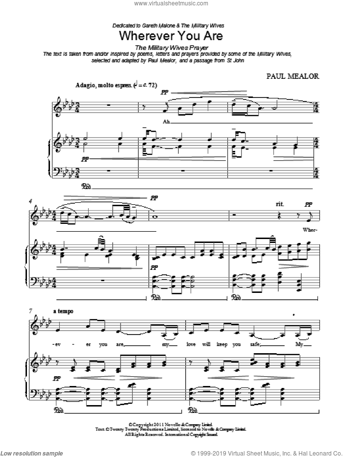 Wherever You Are sheet music for voice, piano or guitar by Paul Mealor. Score Image Preview.