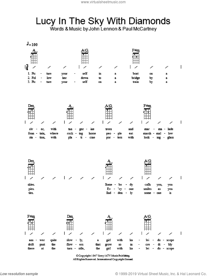 Lucy In The Sky With Diamonds sheet music for ukulele (chords) by John Lennon, The Beatles and Paul McCartney. Score Image Preview.