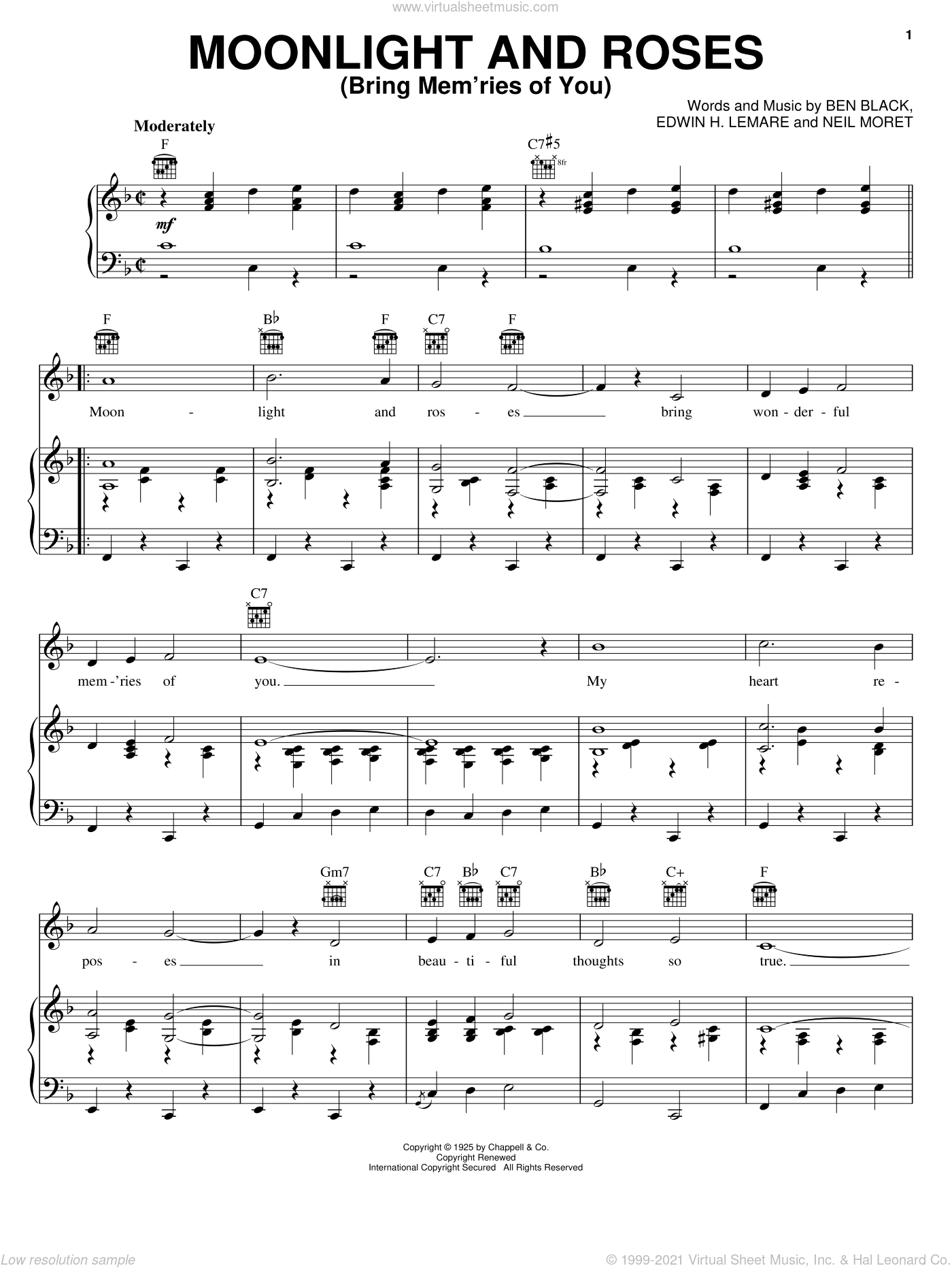 Moonlight And Roses (Bring Mem'ries Of You) sheet music for voice, piano or guitar by Neil Moret