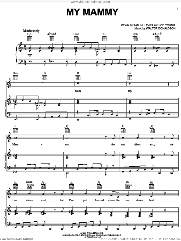 My Mammy sheet music for voice, piano or guitar by Walter Donaldson