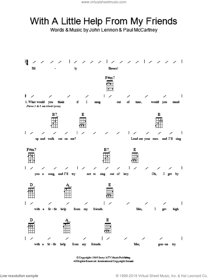 With A Little Help From My Friends sheet music for ukulele (chords) by The Beatles, John Lennon and Paul McCartney, intermediate