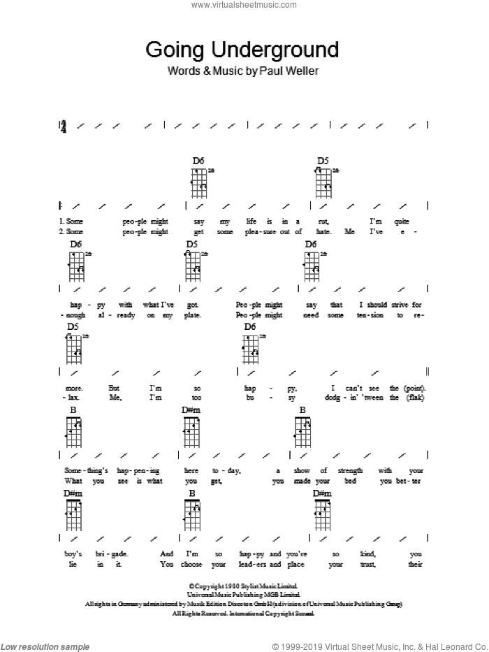 Going Underground sheet music for ukulele (chords) by Paul Weller and The Jam. Score Image Preview.
