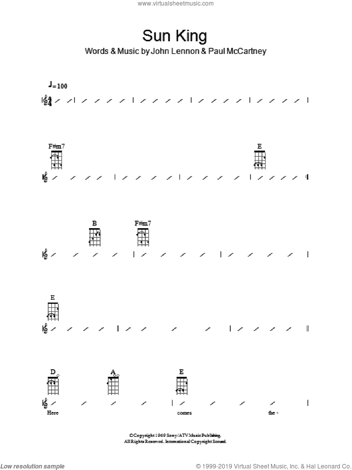 Sun King sheet music for ukulele (chords) by Paul McCartney, The Beatles and John Lennon. Score Image Preview.