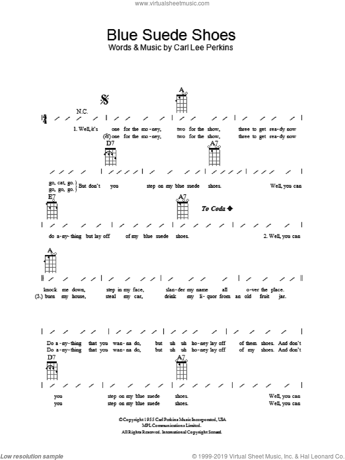 Blue Suede Shoes sheet music for ukulele (chords) by Elvis Presley and Carl Perkins, intermediate skill level