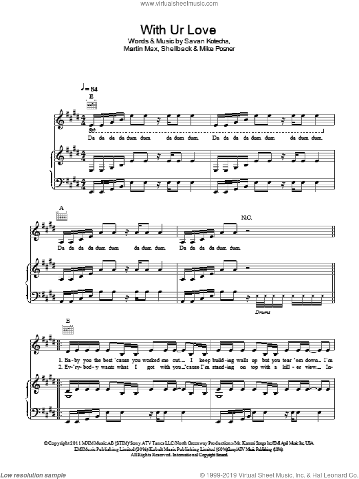 With Ur Love sheet music for voice, piano or guitar by Shellback