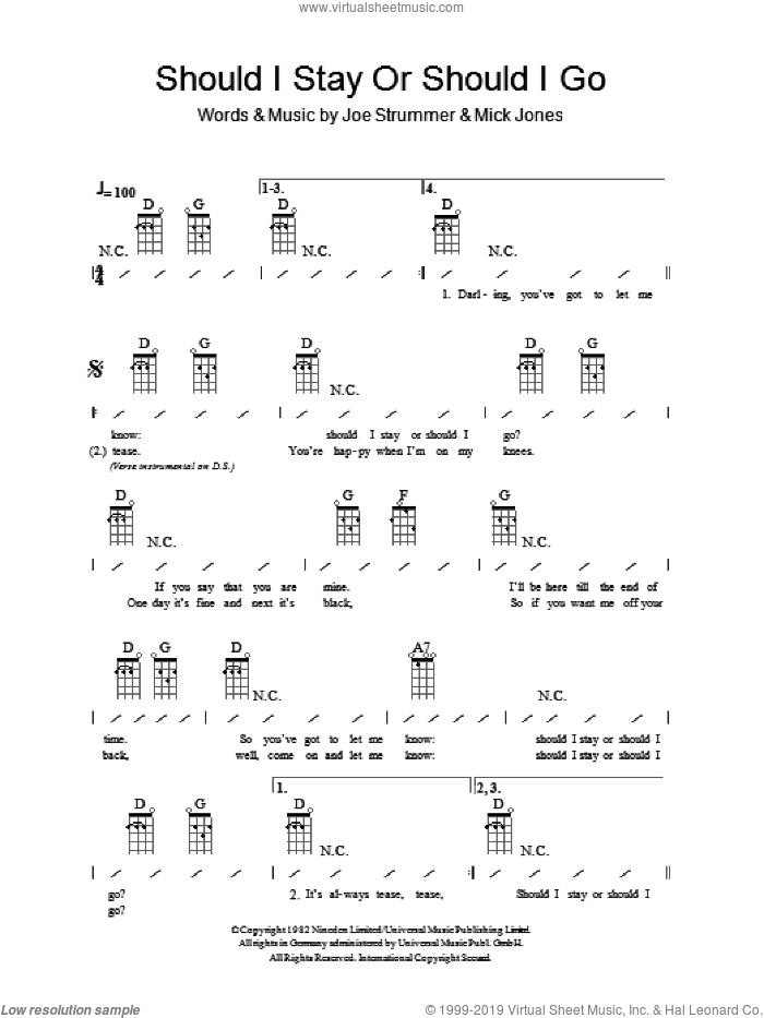 Should I Stay Or Should I Go sheet music for ukulele (chords) by Mick Jones, The Clash and Joe Strummer. Score Image Preview.