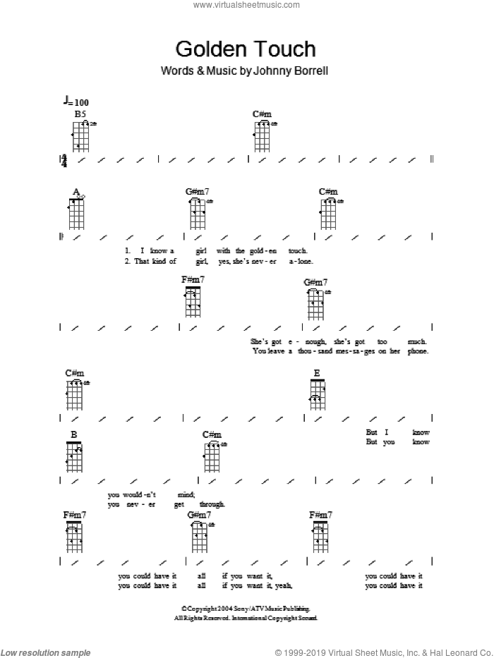 Golden Touch sheet music for ukulele (chords) by Razorlight and Johnny Borrell, intermediate skill level