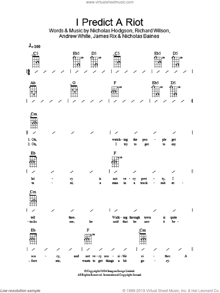I Predict A Riot sheet music for ukulele (chords) by Kaiser Chiefs, Andrew White, James Rix, Nicholas Baines, Nicholas Hodgson and Richard Wilson, intermediate skill level