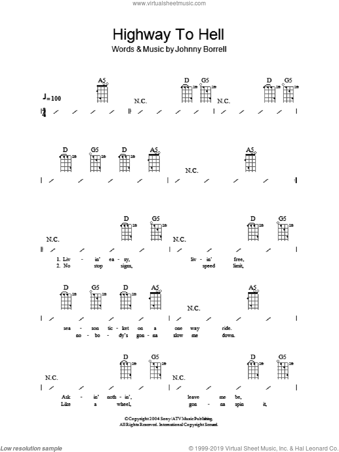 Highway To Hell sheet music for ukulele (chords) by AC/DC