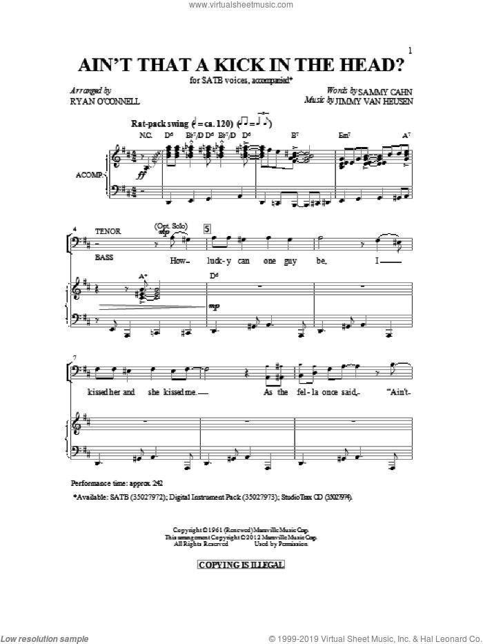 Ain't That A Kick In The Head sheet music for choir (SATB: soprano, alto, tenor, bass) by Sammy Cahn and Jimmy van Heusen, intermediate skill level