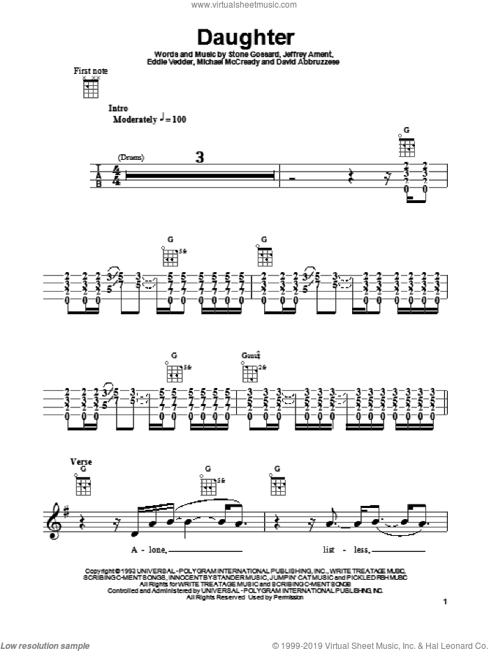 Daughter sheet music for ukulele by Stone Gossard, Pearl Jam, Eddie Vedder, Jeffrey Ament and Michael McCready. Score Image Preview.
