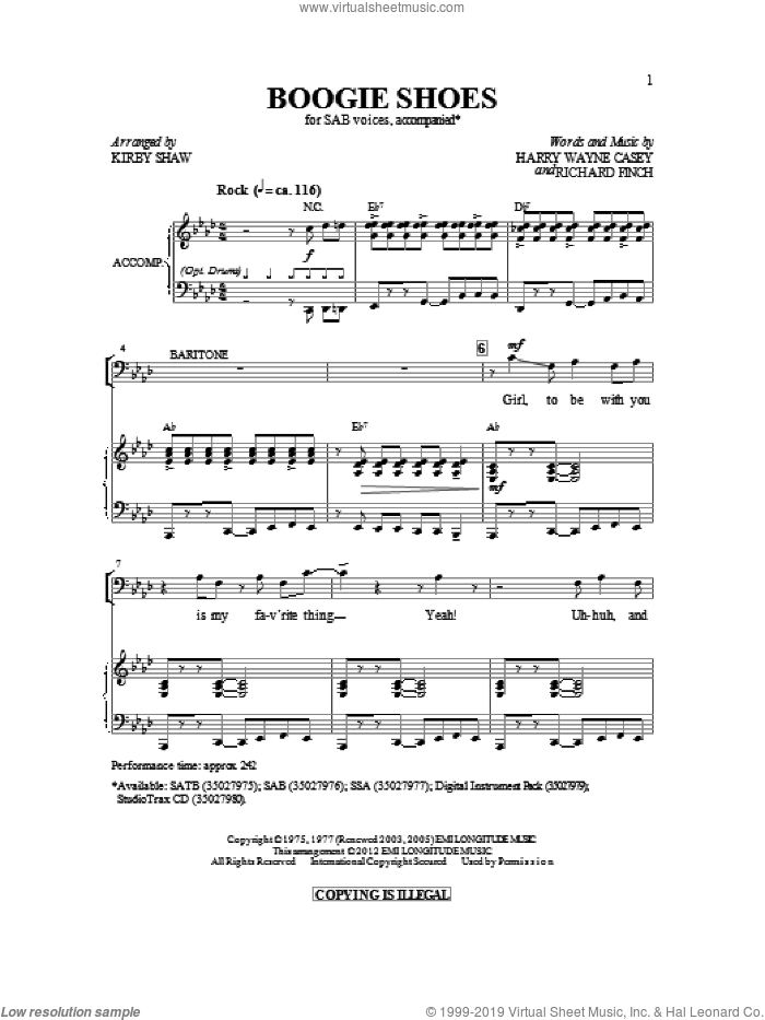Boogie Shoes sheet music for choir (SAB: soprano, alto, bass) by Harry Wayne Casey, Richard Finch, Bee Gees, KC & The Sunshine Band and Kirby Shaw, intermediate skill level