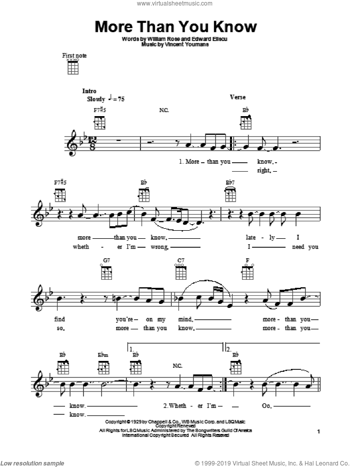 More Than You Know sheet music for ukulele by William Rose, Edward Eliscu and Vincent Youmans, intermediate skill level