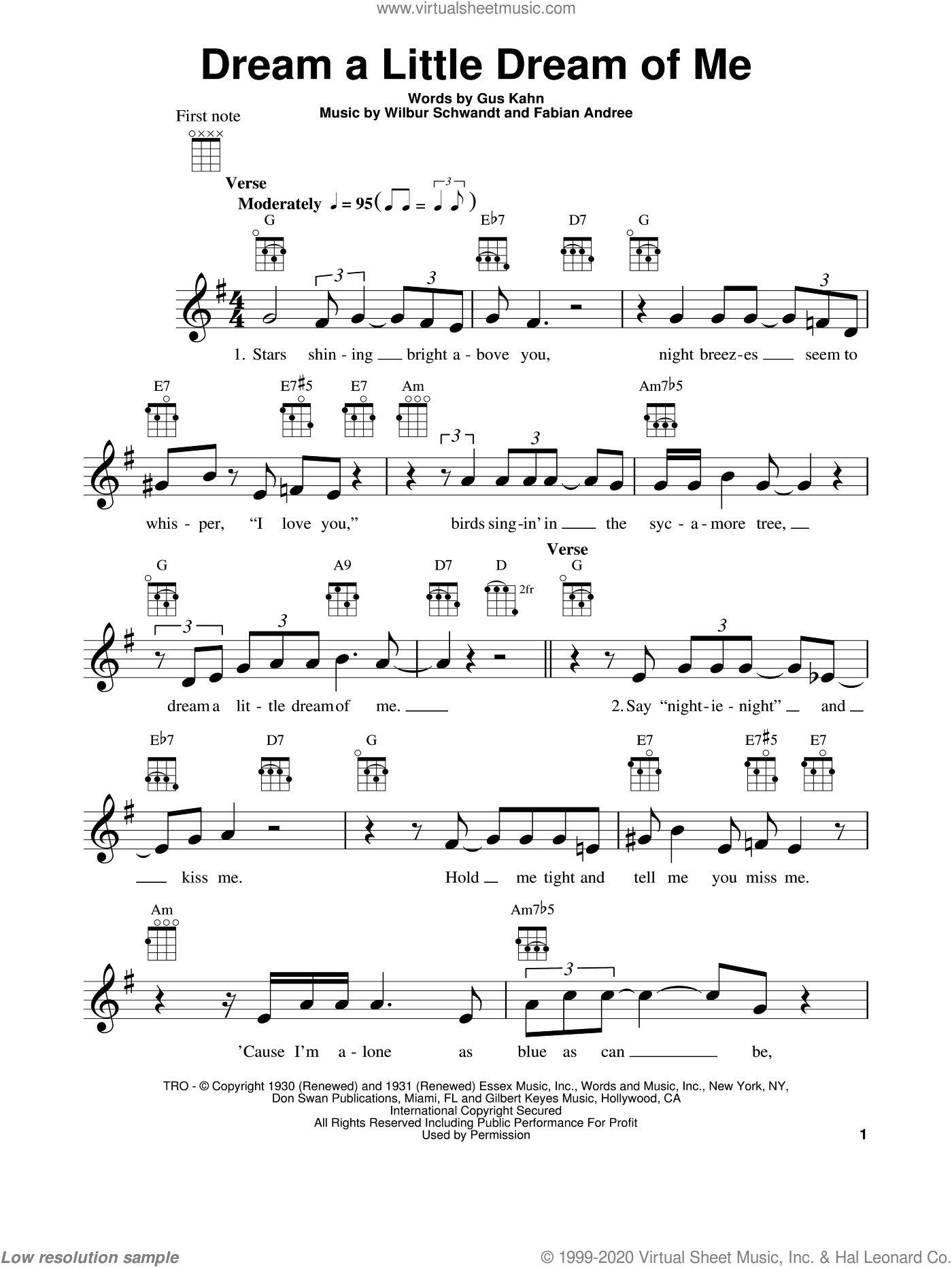 Dream A Little Dream Of Me sheet music for ukulele by The Mamas & The Papas, Fabian Andree, Gus Kahn and Wilbur Schwandt, intermediate skill level